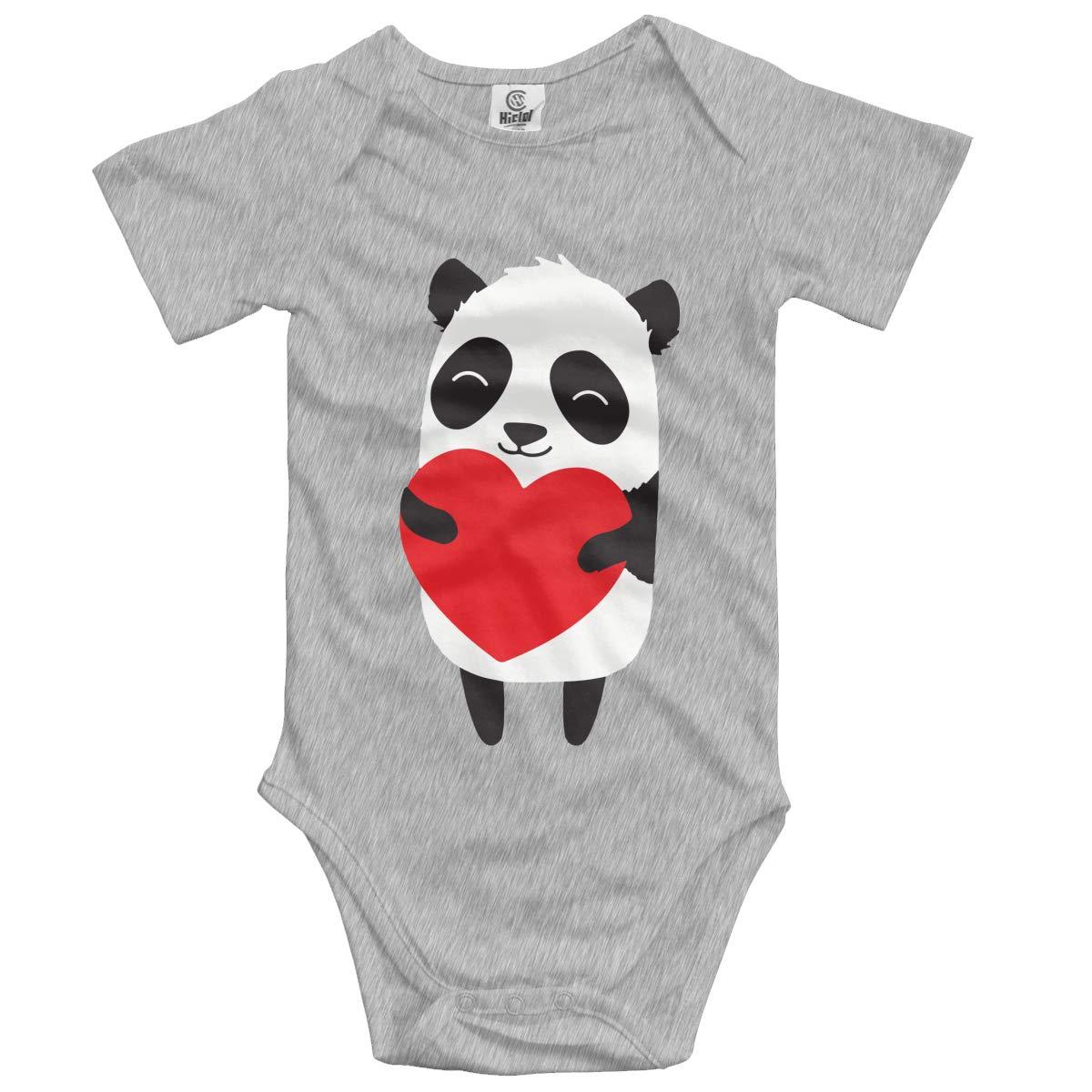 Cartoon Panda Holding Heart Kids Girl Boy 100/% Organic Cotton Rompers Costume Jumpsuit 0-2T