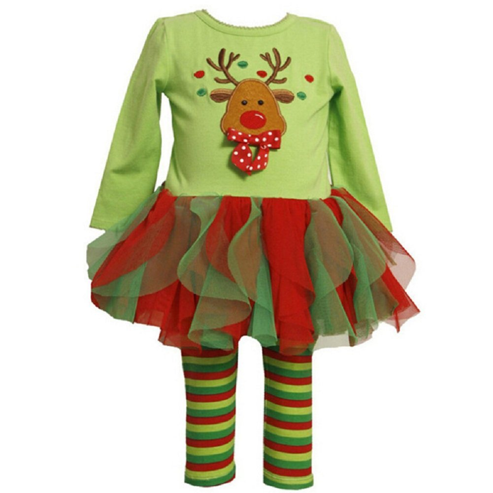Baby Girl's Christmas Outfits Set Top + Tutu Leggings costume reindeer printed FK
