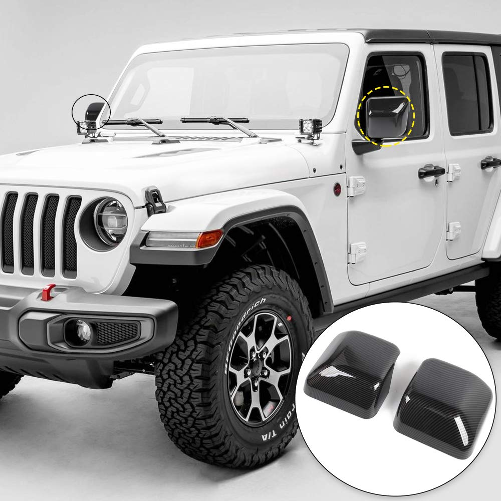 RT-TCZ 2018 Jeep Wrangler JL Carbon Fiber Left /& Right Front Side Door Rear View Mirror Cover Trim