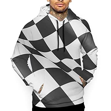 dcdc84119e1 Amazon.com  Men s Black and White Checkered Racing Flag Fashion Hoodies  Pullover Athletic Hooded Sweatshirt Pocket  Clothing