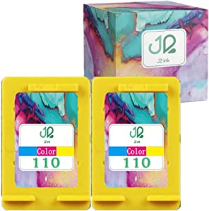 J2INK Remanufactured Ink Cartridge Replacement for HP 110 HP 110XL CB304AN 2 Tri-Color Compatible to Photosmart A310 A432 A440 A444 A447 A512 A516 A536 A612 A616 A617 A626 A637 A646 A716 A717 A827