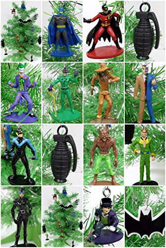 Batman and Friends 15 Piece Mini Christmas Tree Ornaments Featuring Batman, Robin, Joker, Penguin, Two Face and More