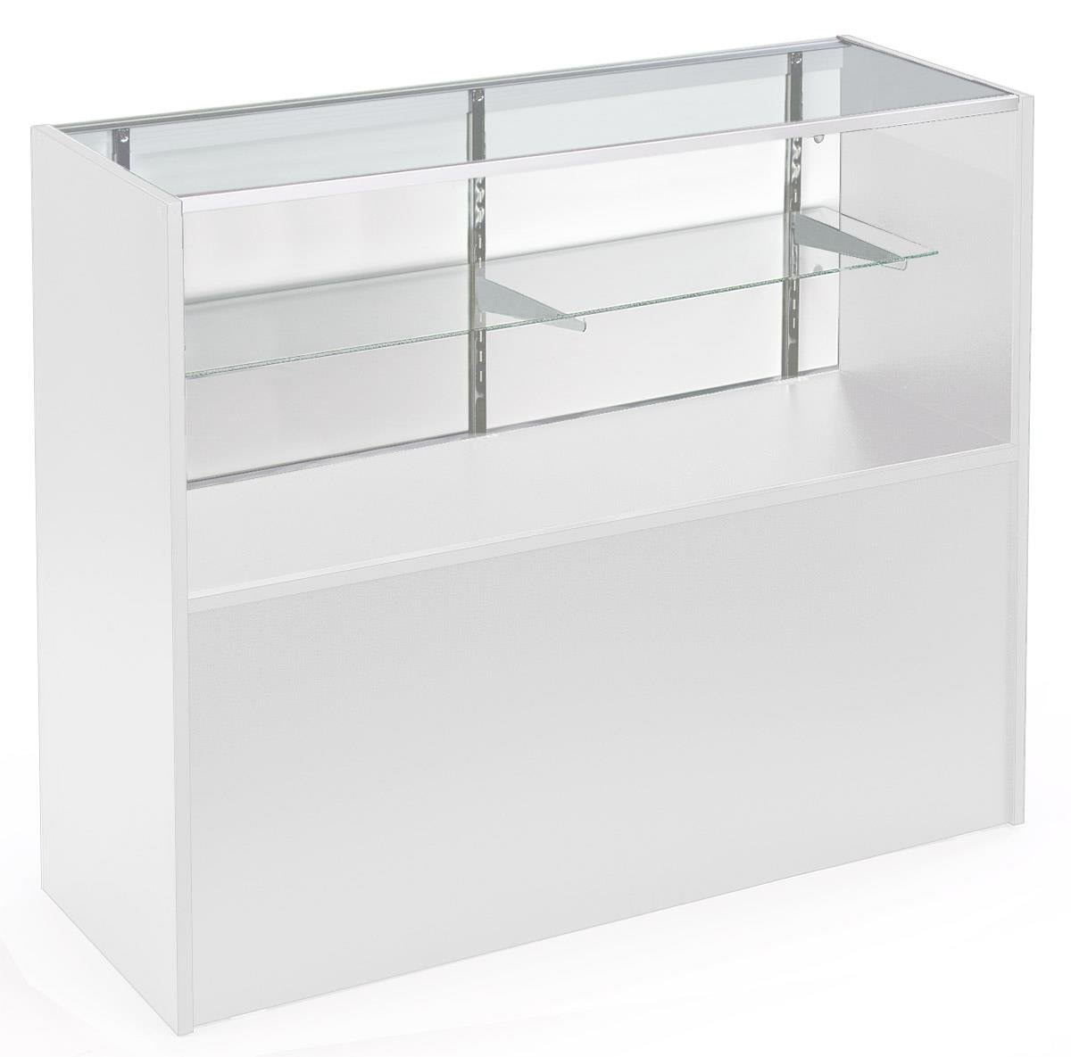 Displays2go 4' Store Counter with Glass Shelves, Aluminum, Tempered Glass, Laminated Particle Board - White Finish (MRCHV4WHKD)