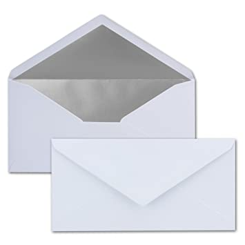 Festliche Kuverts f/ür Weihnachten Dunkel-Blau//Nachtblau mit Silber-Metallic Innen-Futter 110 x 220 mm Nassklebung 100 Brief-Umschl/äge DIN Lang