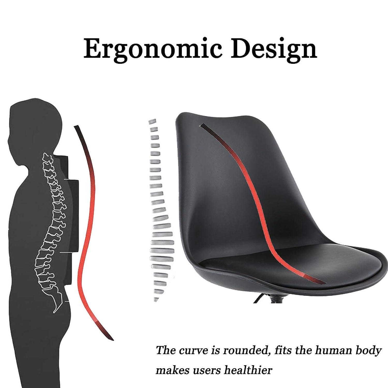 Svängbar stol sovrum lyft roterande kontorsstol ergonomisk mellanrygg datorstol hem liten enkel student skrivbord stol med lädersvamp justerbar, gul + svart, 48 x 43 x 96 cm Svart