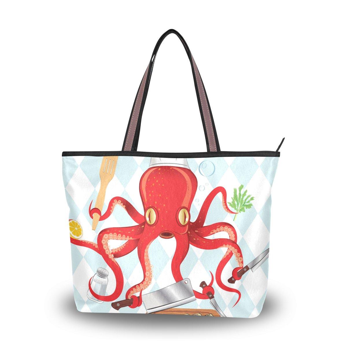 imobaby Octopus Cooking Sushi And Fish Women Large Tote Shoulder BagsTop Handle Handbag TE064
