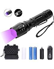 Didisky Linterna Ultravioleta LED 2 in 1 Alta Potencia Linterna de Mano Linternas+ UV Flashlight, Luz negra 395nm Ciclismo Camping Montañismo 【incluida un paquete de batería de litio recargable 】