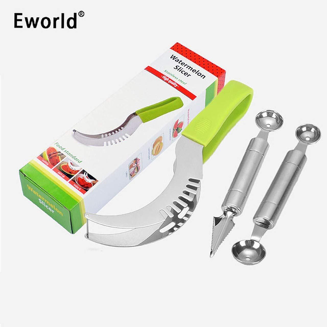 Watermelon Slicer with Carving Knife and Melon Baller Scoop Kit Stainless Steal Fruit Set by Eworld Watermelon Slicer