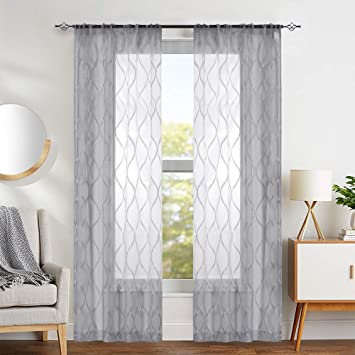 Wave Grey Sheer Curtains Bedroom Drapes Medallion Design Geo Sheers Vintage  Window Curtains Living Room Curtain Panels 95\