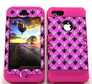 Cell-Attire Shockproof Hybrid Case For Apple IPhone 5, 5S and Stylus Pen, Hot Pink Soft Rubber Skin with Hard Cover (Saints, Fleur-De-Lis, Pink) AT&T, T-Mobile, Sprint, Verizon, Cricket, Virgin Mobile, Boost Mobile by runtopwell