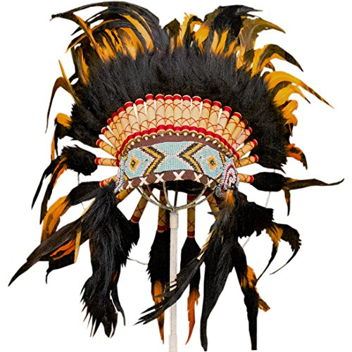 Feather Headdress - ADJUSTABLE KIDS SIZE - Native American Inspired - Orange (Indian Dance Costumes And Accessories)
