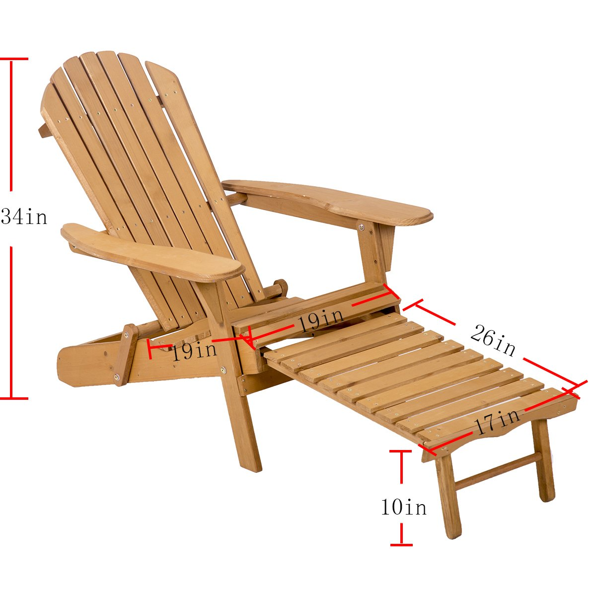 FDW Outdoor Wood Adirondack Chair Foldable w/Pull Out Ottoman Patio Furniture by FDW (Image #6)
