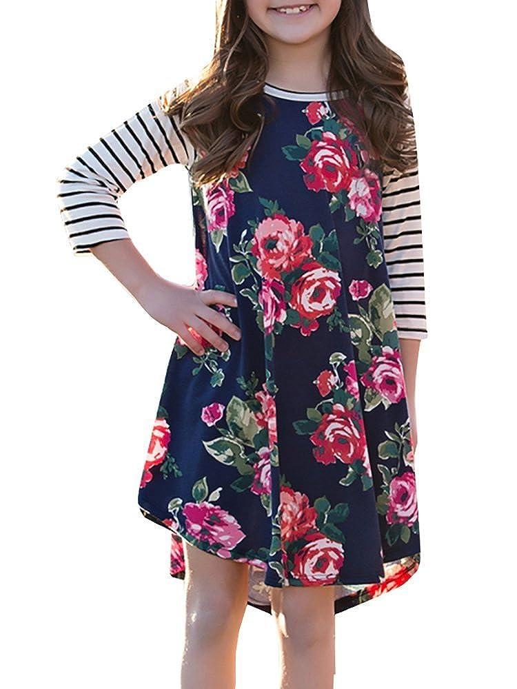 KunLunMen Girls Dresses Kids Casual Floral Dress Striped Swing Summer Fall Midi Dress