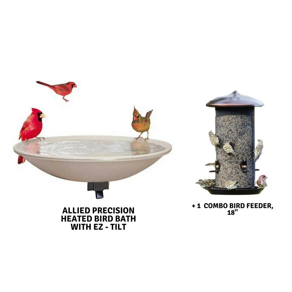 Mounted Heated Bird Baths with Combo Bird Feeder by Allied Precision Industries