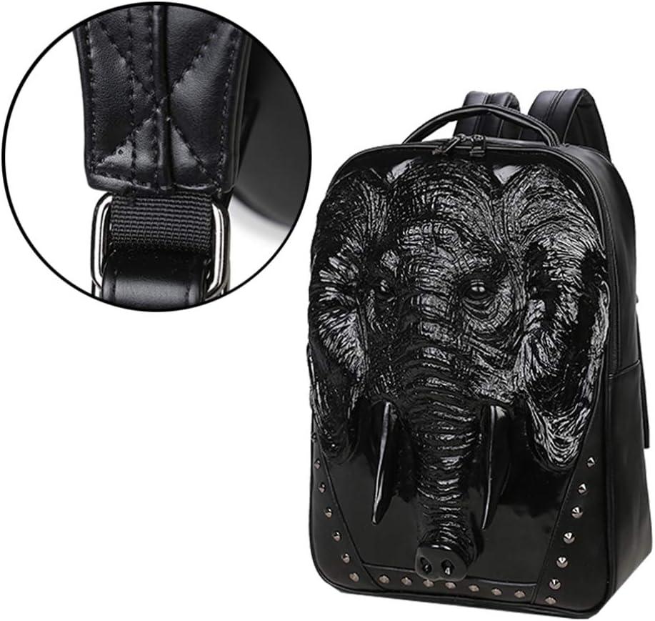 FENICAL Backpack 3D Elephant Laptop Bag Large Schoolbag Satchel Book Bag for Male Boys Men Black
