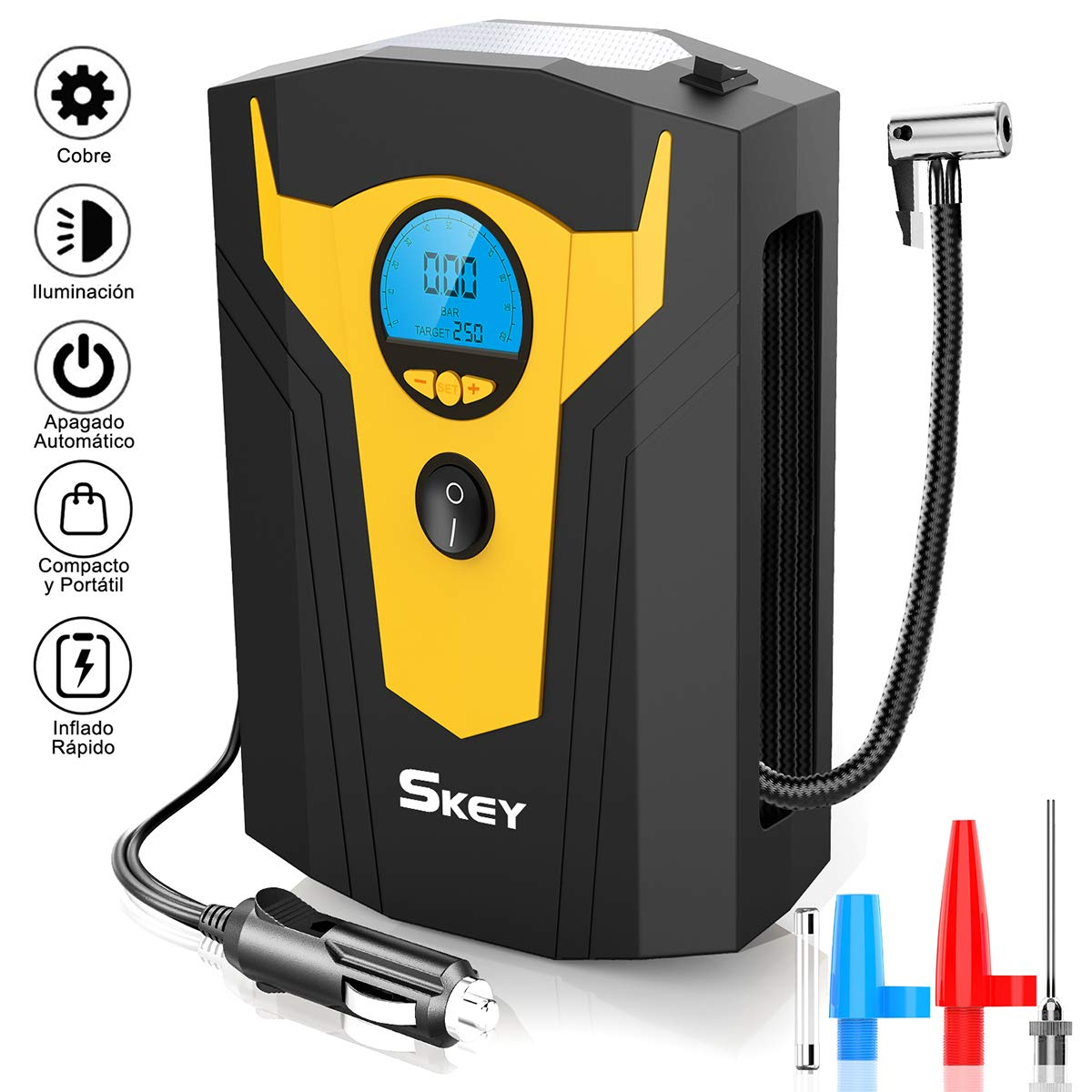 SKEY Compresor de Aire Coche Portatil Bomba Inflador 12v con LED Pantalla Digital LCD para Hinchar Neumáticos de Moto Coche y Bicicleta product image