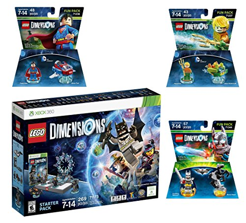 Lego Dimensions DC Comics Super Heroes Starter Pack + Superman + Batman + Aquaman Fun Packs for Xbox 360 Console by WB Lego