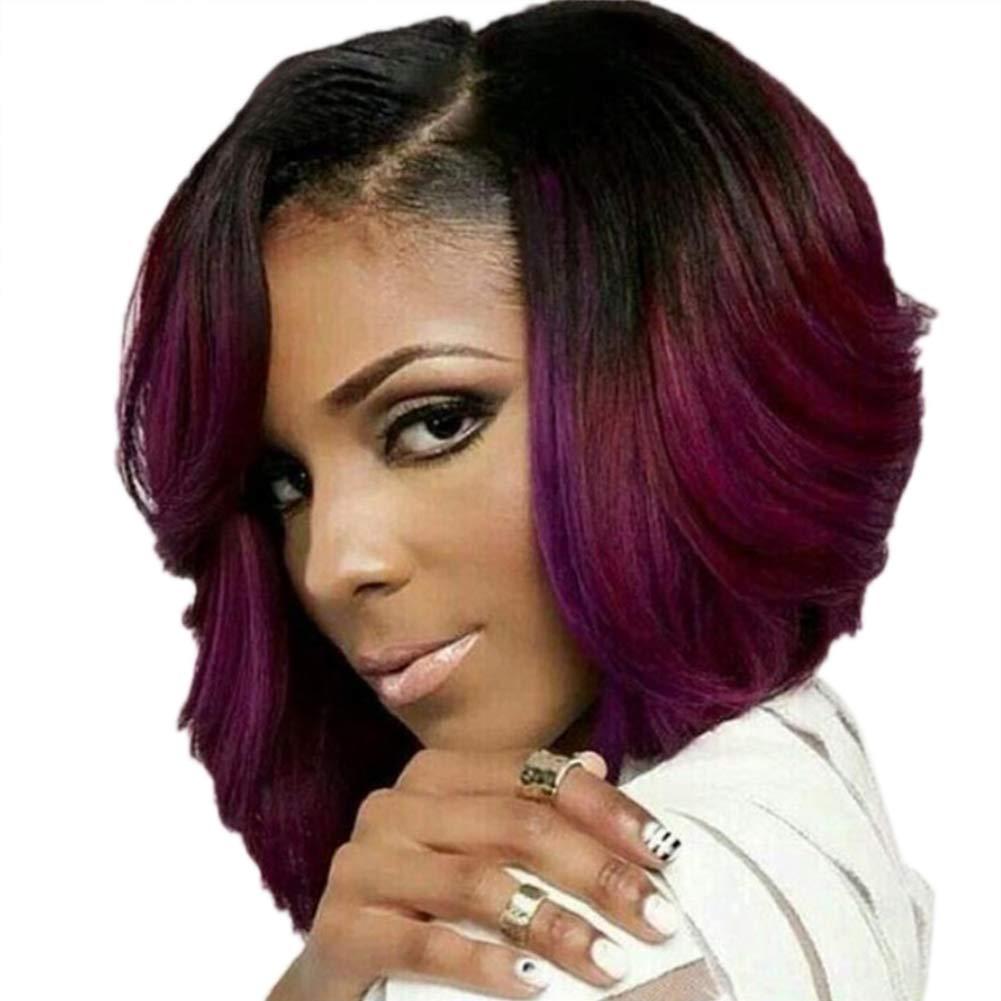 Oce180anYLV - Parrucca in fibra corta da donna, colore: vinaccia