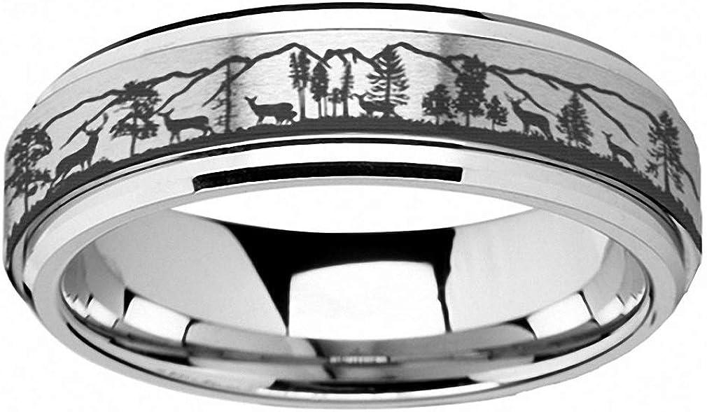 Surhel Forest Deer Silver Titanium Steel Spinning Rings Men Wedding Women Rotating Ring Finger Accessories Gift