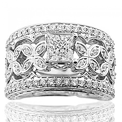 (Midwest Jewellery 14K White Gold Bridal Wedding Set Diamonds Extra Wide Round Solitaire (i2/i3, I/j, 1.30ctw))