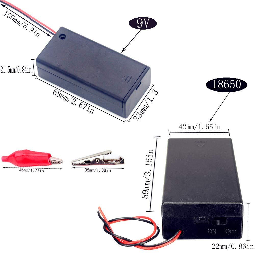YUEQIN 2 pcs 3.7 V 18650 Bater/ía Plana Caso Pl/ástico Caja de Bater/ía y 3pcs Portapilas 9V con Cable y Caja con Tapa e Interruptor y 10 Pinzas de Cocodrilo