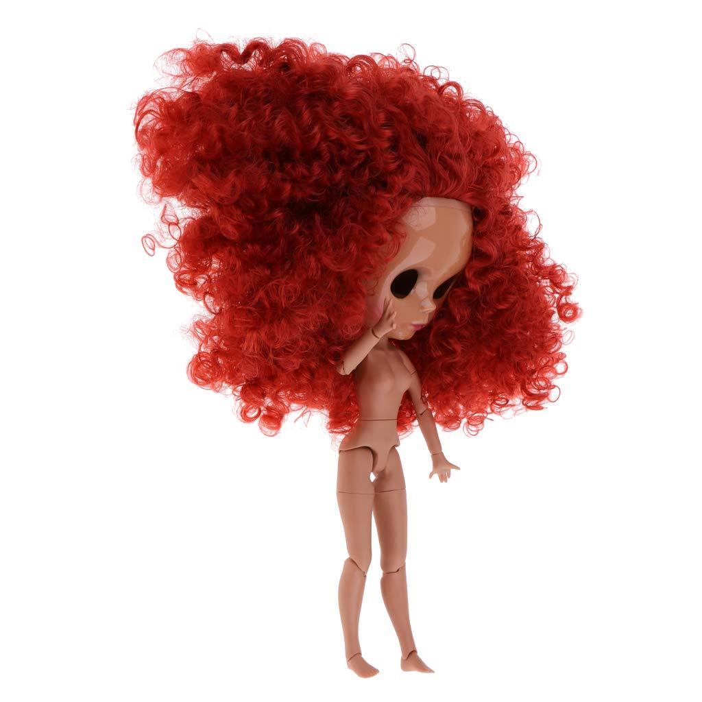 Fenteer 19 Articolazioni Corpo Nudo E Mascherina con Parrucca Fai da Te per Bambola Giocattolo - Rosso
