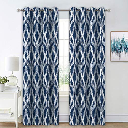 RYB HOME Contemporary Wave Pattern Room Darkening Curtains Thermal Insulating Window Drapes for Sliding Glass Door/Living Room/Dinning Area, Navy Blue (W 52 in x L 84 in, Set of ()