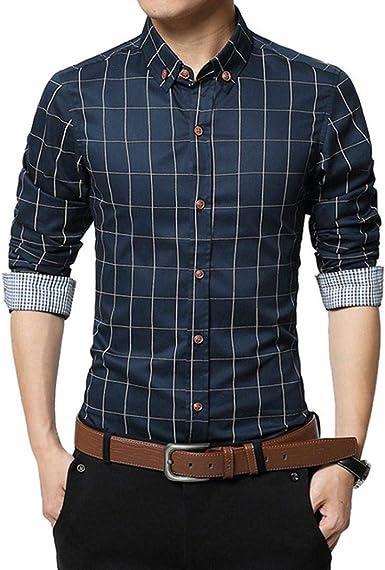 Camisas Casual Hombre Manga Larga, Covermason Nueva Camisa a Cuadros Casual a Cuadros para Hombres de otoño: Amazon.es: Ropa y accesorios