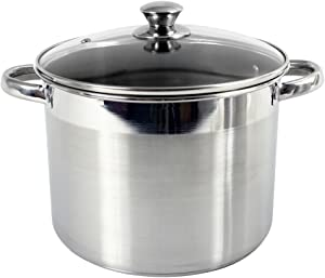 Heuck 36111 16 quart Stock Pot with Glass Lid, Silver