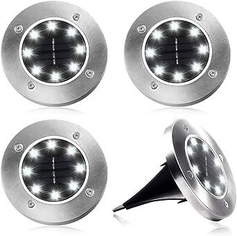 12 LEDs Solar Bodenleuchte Solar Gartenleuchten Solarlampen Bodenstrahler Licht
