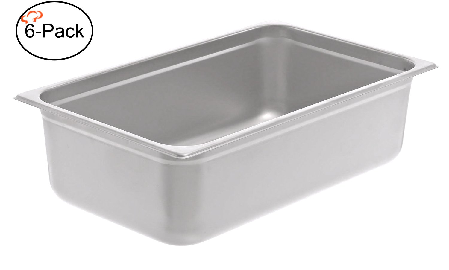 Tiger Chef 6-Pack 6-inch Full-Size Stainless Steel Anti-Jam Steam Table Pan, Hotel Pan