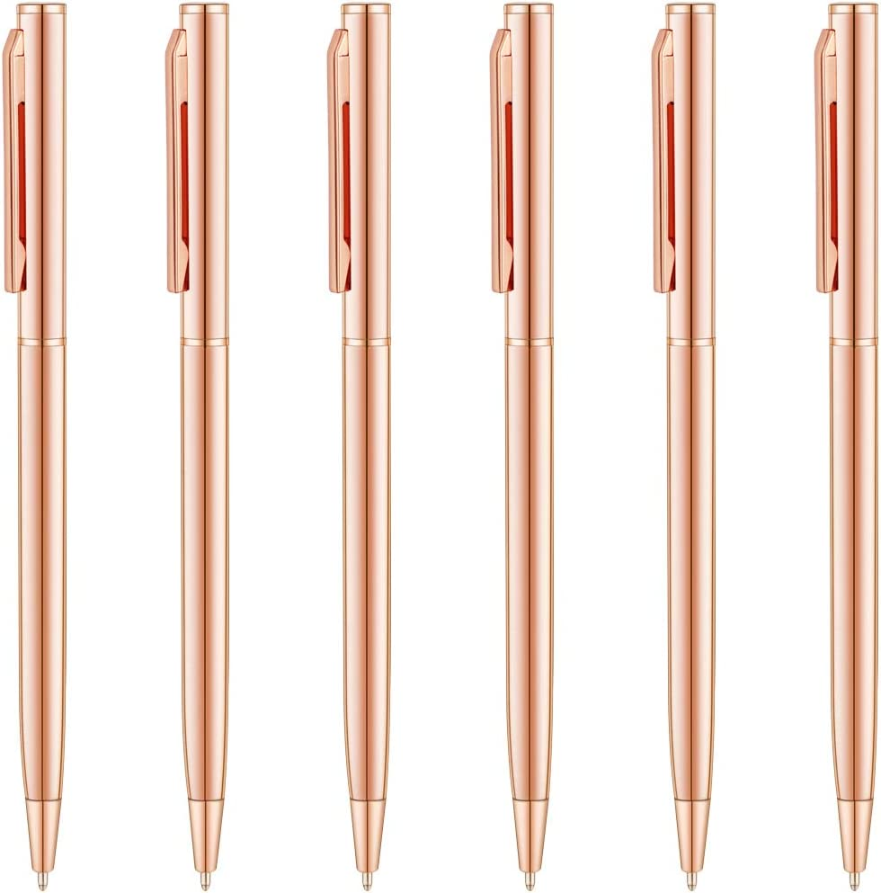 Unibene Rose Gold Ballpoint Pens - Black Ink Medium Point 6 Pack, Cute Office Supplies for Women, Nice Pink Metallic Slim Pens Bulk for Students Teachers Wedding