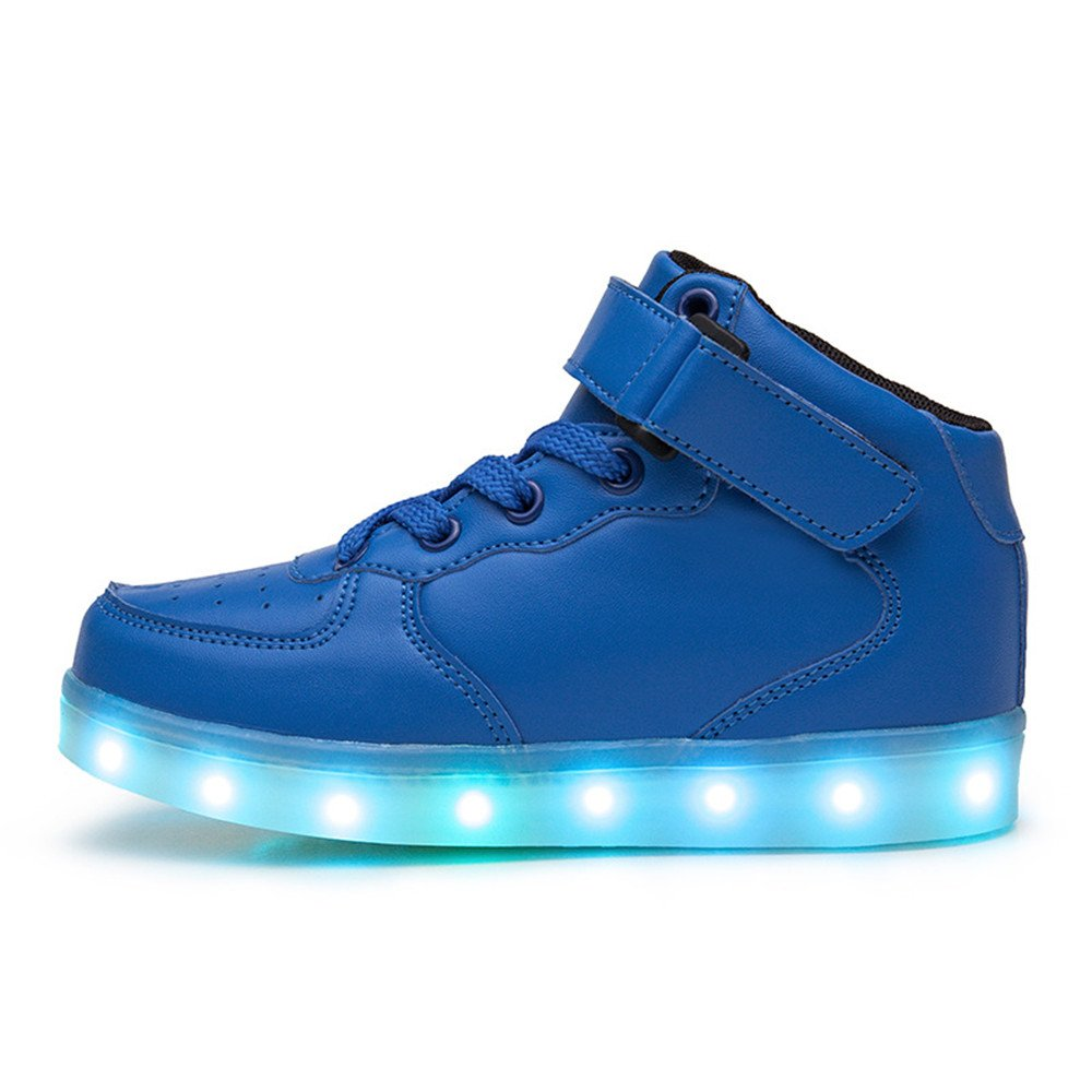 New LED Shoes Lights Casual High-Top LED Glowing Shoes Boy's Girl's (Blue-11 M US Little Kid)