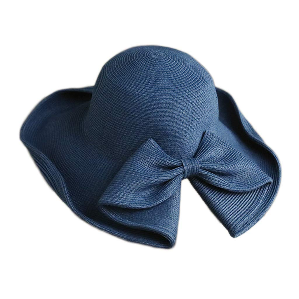 bluee YONGLIA Foldable Sun Hat, Bow Straw Hat, Simple Bow, Sun Hat, Free Folding, Open Design, Adjustable Two colors (color   bluee)