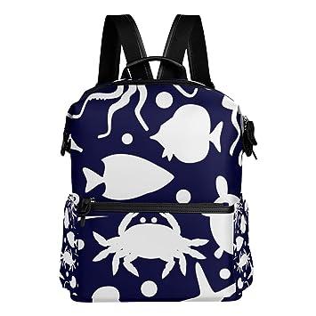 TIZORAX - Mochila para Colegio, diseño de Estrella de mar submarina, Color Azul Marino