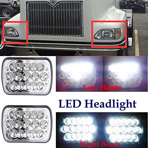 7x6 Inch for International IHC Headlight Assembly 9200 9900 9400i Rectangular LED Headlamps Sealed Beam High Low Double Beam H6014 H6052 H6054 6054 45W 1Pair - 2 Yr Guarantee