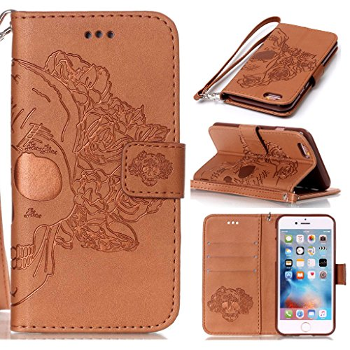 Price comparison product image Wallet Case for iPhone 6 / 6S Plus with [Tempered Glass Screen Protector],  Pressed Pattern Design Card Holder Detachable Leather Wallet Cover Flip Stand Case for iPhone 6 / 6S Plus (Skeleton in Brown)