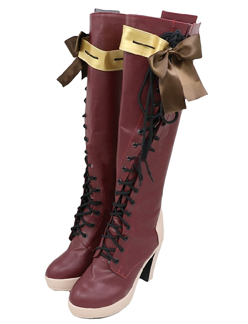 Damen Rot Stiefel & Stiefeletten Lady Block High Heel Anime Schuhe Cosplay Kostüm Halloween Kostüm Merchandise Zubehör