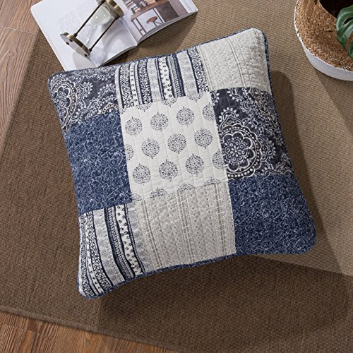 DaDa Bedding Patchwork Euro Sham - Cotton Bohemian Denim Blue Elegance - Bright Vibrant Multi Colorful Navy Floral - 26