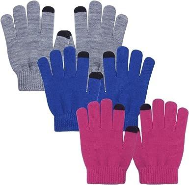 Kids Boys Black Soft Knit Touch Screen Phone  Magic Gloves