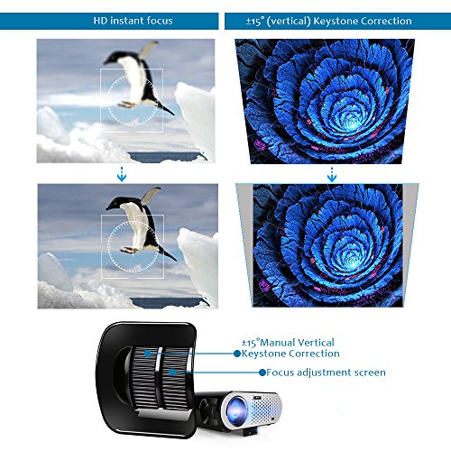 Video Projector Portable, CiBest GP90 LCD Projector HD 1080p 3500 Luminous Efficiency LED Multimedia Home Cinema Theater Entertainment Movie Party Game Projector HDMI VGA for Laptop iPad Smartphone by CiBest (Image #1)