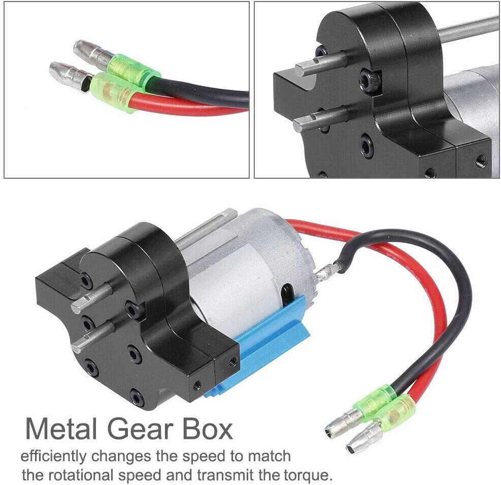 Black Metal Gearbox with 380 Brushed Motor Anodizing Treatment for 1//12 MN-D90 MN-99 MN-91 FJ-45 RC Car 6.5x5.2x5cm Baoblaze Speeds Change Gear Box