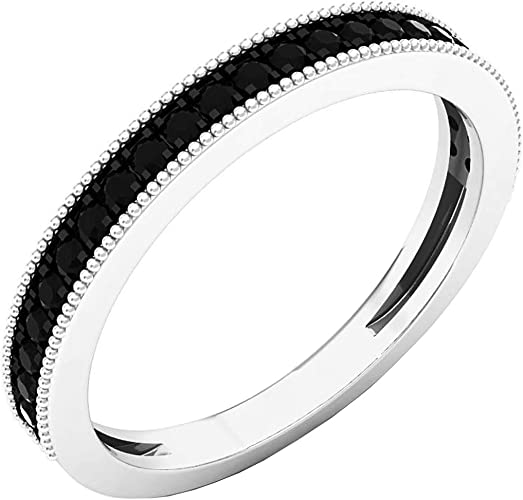 Sterling Silver Round White Diamond Ladies Dainty Anniversary Wedding Band Stackable Ring Dazzlingrock Collection 0.08 Carat ctw