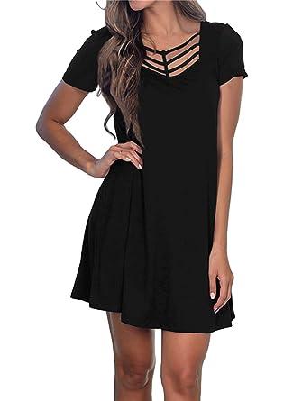 d147a7ffc9417 Fanfly Women's Summer Short Sleeve Swing T Shirt Dress Criss Cross Neckline Casual  Loose Tunic Dress
