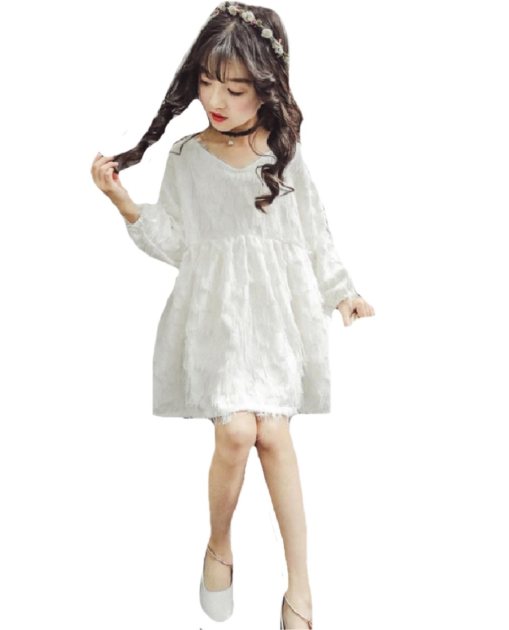 Winwinus Girls Longsleeve V-Neck Fine Cotton Loose Party Wedding Dresses White 110