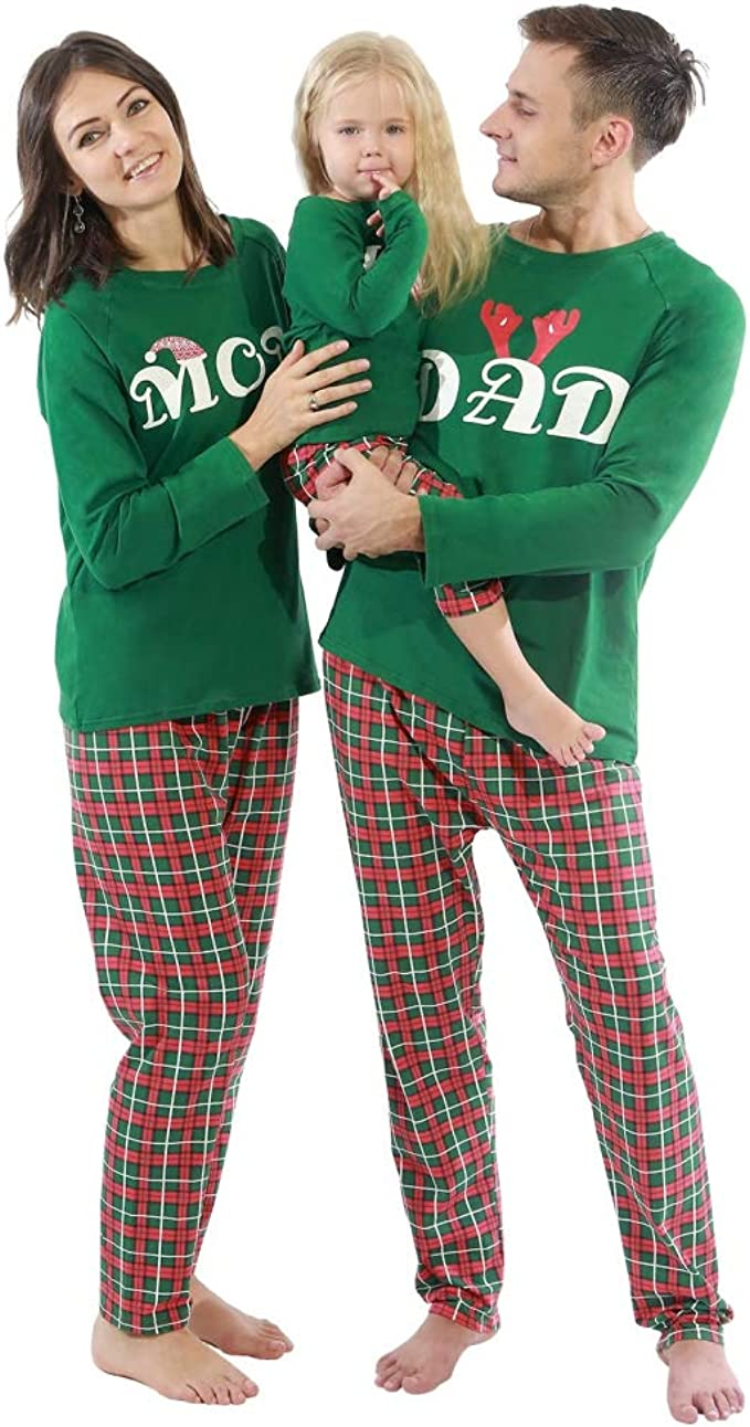 a few days away best supplier new appearance BOBORA Christmas Pyjamas Family Cotton Sleepwear Set Merry Christmas Santa  Prints Top with Checkered Striped Bottoms Pjs Set for Daddy Mommy and Me ...