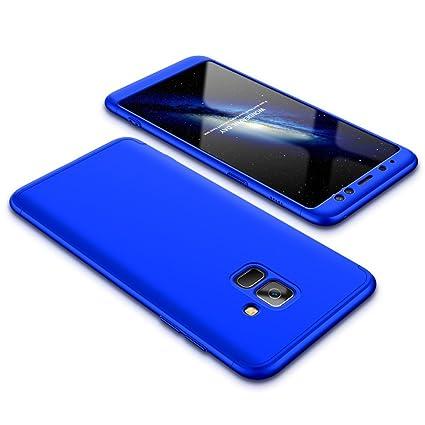 JMGoodstore Funda Galaxy A8 2018,Carcasa Galaxy A5 2018, Funda 360 Grados Integral para Ambas Caras+Cristal Templado,[360°] 3 in 1 Slim Fit Dactilares ...