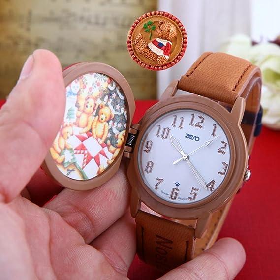 Belleza regalo Nueva Moda Niños Cartoon reloj Dial de oso diseño correa de cuero reloj de pulsera Relojes de cuarzo niños niñas deporte Qz4032: Amazon.es: ...