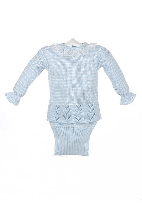 Isabel Maria - Conjunto de jersey y braguita para bebé y recién nacido en algodón - 3 meses, Celeste