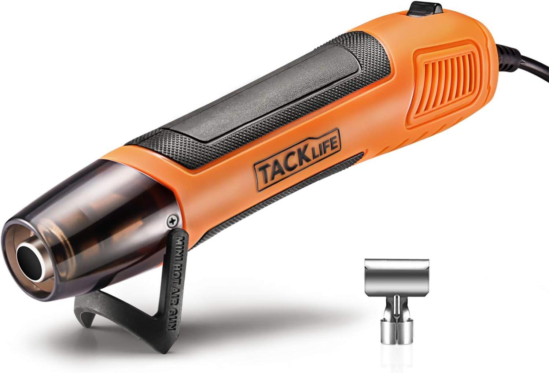 TACKLIFE Mini Pistola de Calor, Pistola de Aire Caliente Portátil 350W, 0~350°C, Cable 2M, y con Una Boquilla Reflectora de Cuchara, HGP35AC